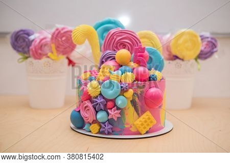 Happy Birthday Cake With Pink Chocolate Decoration On White Background. Happy Birthday. Sweet And Ta