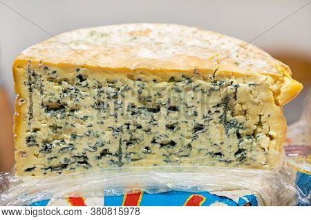 Half Wheel Of Blue Mould Cheese French Cuisine
