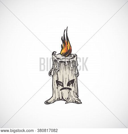 Hand Drawn Colorful Halloween Scary Candle Vector Illustration. Abstract Evil Sketch. Engraving Styl