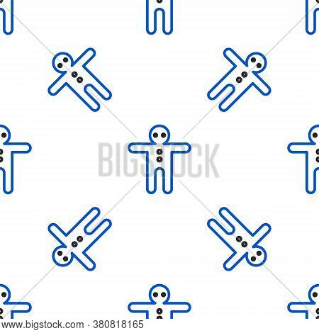 Line Holiday Gingerbread Man Cookie Icon Isolated Seamless Pattern On White Background. Cookie In Sh