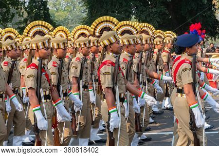 Kolkata, West Bengal, India - 26th January 2020 : Khaki Dress And Colourful Hats Of India's Central