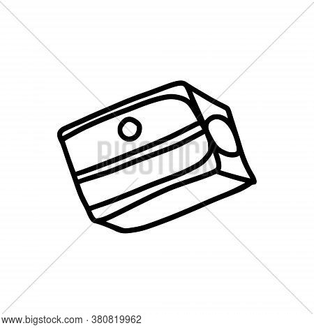 Pencil Sharpener In Doodle Style. Simple Design Element On The Theme Of Stationery, Office, Creativi