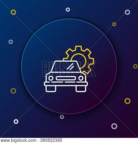 Line Car Service Icon Isolated On Blue Background. Auto Mechanic Service. Repair Service Auto Mechan