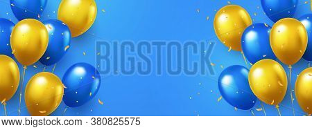 Greeting Design In National Blue And Yellow Colors With Realistic Flying Helium Balloons. Celebratio