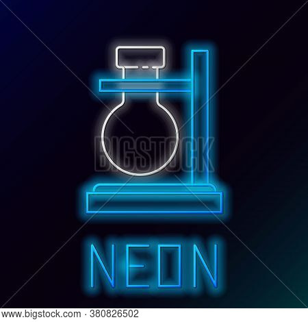 Glowing Neon Line Glass Test Tube Flask On Stand Icon Isolated On Black Background. Laboratory Equip