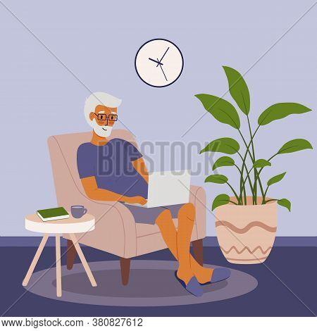 Senior Elderly Older Man Sitting In Chair At Laptop At Home. Vector Flat Cartoon Illustration