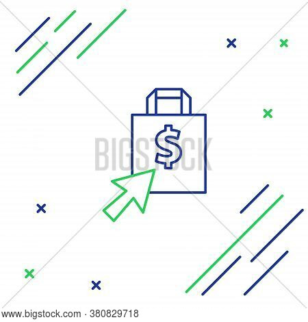 Line Shoping Bag And Dollar Icon Isolated On White Background. Handbag Sign. Woman Bag Icon. Female