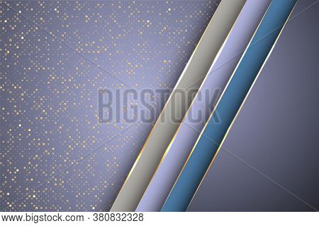 Gold Halftone Dots And Inclined Ribbon Stripes Banner Vector Design. Premium Business Background Tem
