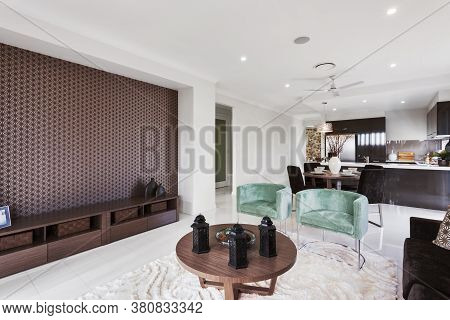 Interior Scene Of Modern House Space Integrating Living Room