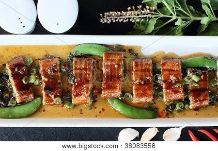 roast eel (unagi) with basil Thai style fusion food poster