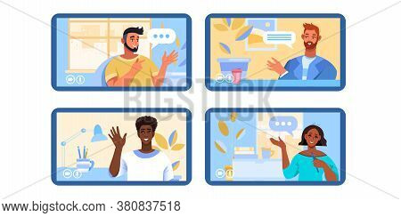 Video call or conference illustration with diverse people working remotely at home as team. Virtual meeting concept with young freelancers and interiors. Video call vector background in flat style