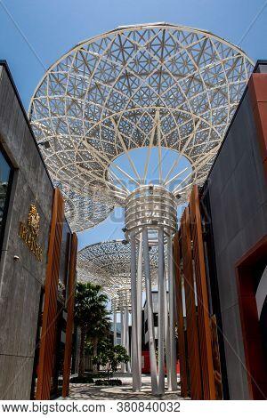 Dubai, Uae, 04/07/20. Modern Artificial Tree Constructions And Shopping Street On Dubai Bluewaters I