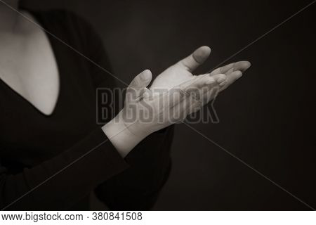 Asian Woman Praying And Worship To God Using Hands To Pray In Religious Beliefs And Worship Christia
