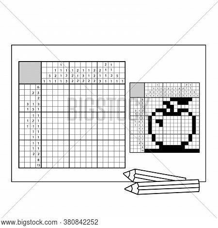 Apple. Black And White Japanese Crossword With Answer. Nonogram With Answer. Graphic Crossword. Puzz