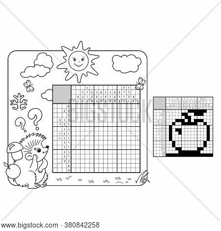 Cartoon Vector Illustration Of Education Puzzle Game For School Children.  Apple. Black And White Ja