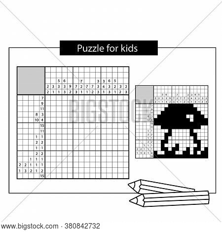 Mushroom. Black And White Japanese Crossword With Answer. Nonogram With Answer. Graphic Crossword. P