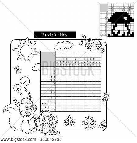 Cartoon Vector Illustration Of Education Puzzle Game For School Children. Coloring Page Outline Of S