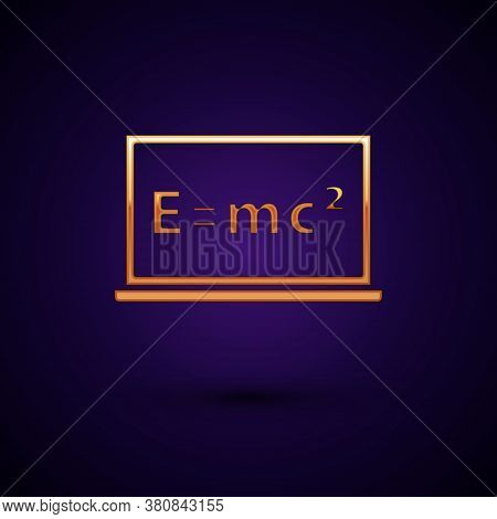 Gold Math System Of Equation Solution On Chalkboard Icon Isolated On Black Background. E Equals Mc S