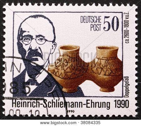 Postage Stamp Gdr 1990 Heinrich Schliemann, Archaeologist