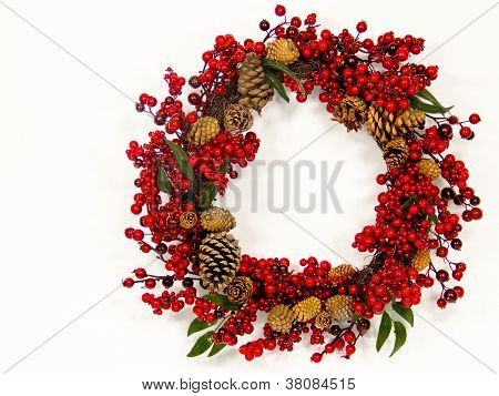 Red Berry And Pine Cone Wreath