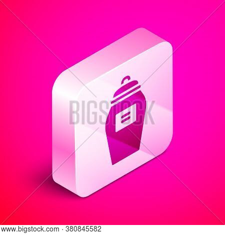 Isometric Funeral Urn Icon Isolated On Pink Background. Cremation And Burial Containers, Columbarium