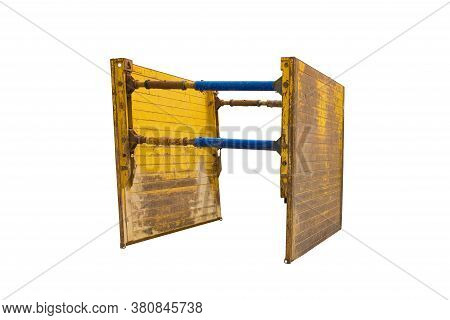A Trench Box Isolated On A White Background. Also Called A Trench Shield Or Trench Sheet, On The Sit