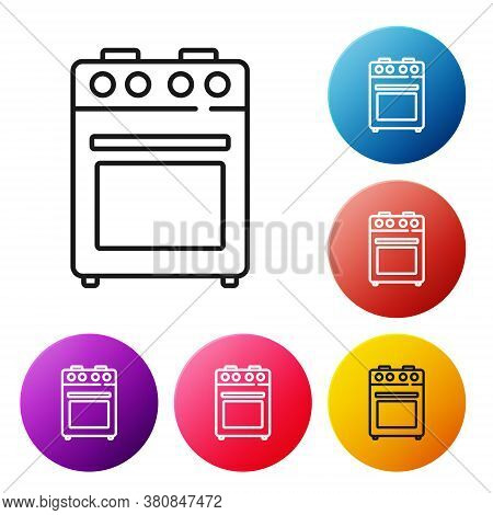 Black Line Oven Icon Isolated On White Background. Stove Gas Oven Sign. Set Icons Colorful Circle Bu