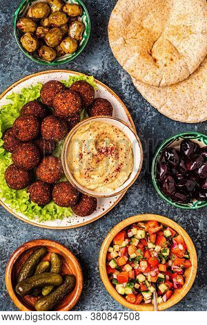 Falafel - Traditional Dish Of Israeli And Middle Eastern Cuisine, Top View.