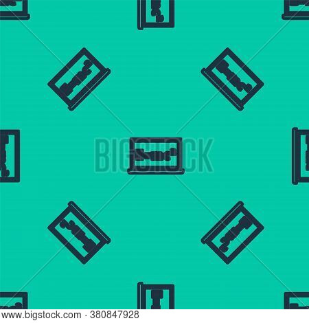 Blue Line Math System Of Equation Solution On Chalkboard Icon Isolated Seamless Pattern On Green Bac