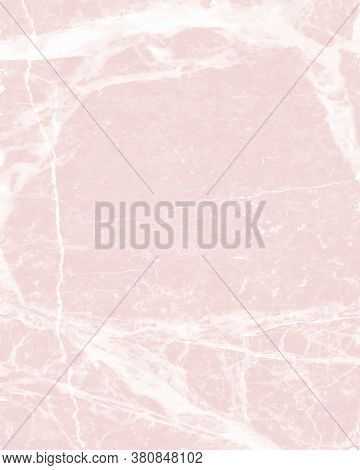 Delicate Abstract Marble Vector Layout. White Irregular Lines On A Light Pink Background. Soft Marbl