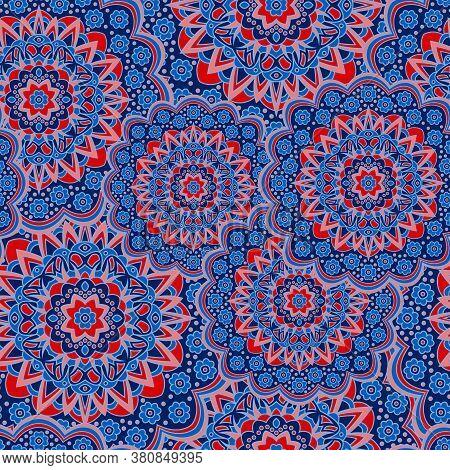 Persian Medallion Flower Seamless Ornament Vector Graphic Design. Pattern Template For Tapestry. Lov