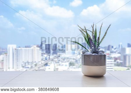 Flower Pot On The Wooden Table At The Window Of The Living Room In Condominium With City View. Urban