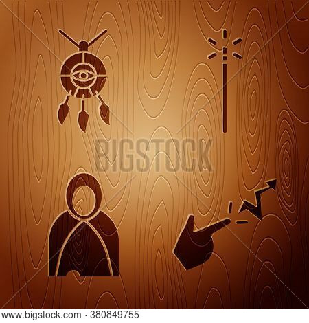 Set Spell, Dream Catcher With Feathers, Mantle, Cloak, Cape And Magic Wand On Wooden Background. Vec