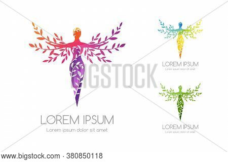 Women With Ornamental Tree Logo Template. Vector Illustration Of Feminine Silhouette With Decorative