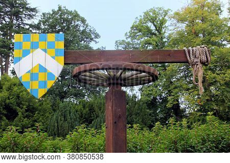Medieval Quintain With Shield On A Revolving Post Used For Jousting Practice