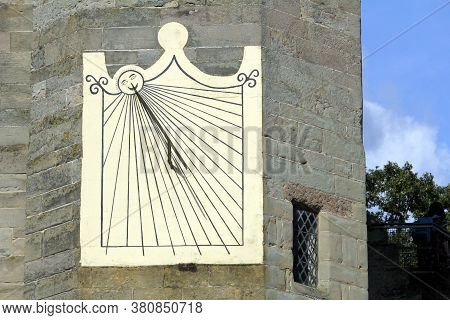 Old Antique Sundial Attached To A Medieval Castle Wall