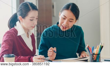 Group Of Asia Young Creative People Japanese Female Boss Supervisor Teaching Intern Or New Employee