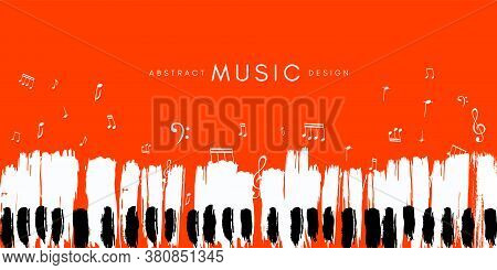 Piano Concert Poster. Music Conceptual Illustration. Abstract Style Red Background With Hand Drawn P