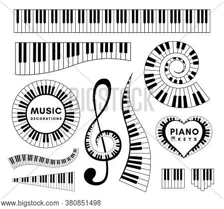 Piano Keys Decorative Design Elements. Set Of Musical Vector Isolated Decorations..