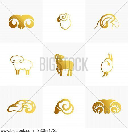 Merino Wool Icons Set. Vector Sheep Emblem Template. Natural Product Isolated Symbol.