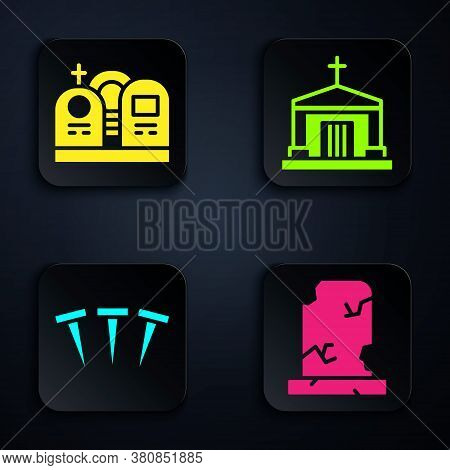 Set Old Grave With Tombstone, Grave With Tombstone, Metallic Nails And Old Crypt. Black Square Butto