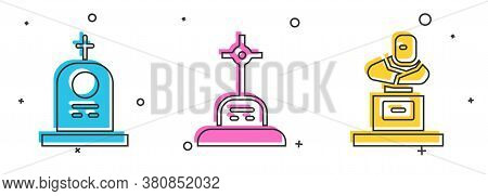 Set Grave With Tombstone, Grave With Cross And Grave With Tombstone Icon. Vector