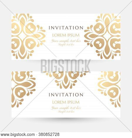 Invitation Templates. Cover Design With Gold Ornaments And White Background. Vector Decorative Horiz