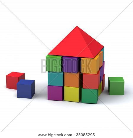 House made of children blocks