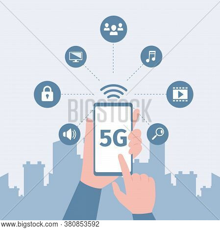 Hands Holding Smartphone With Fast 5g Network Wireless Technology And Get Access To Multimedia, Inte
