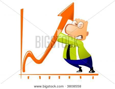 The Businessman Is Trying To Change The Chart