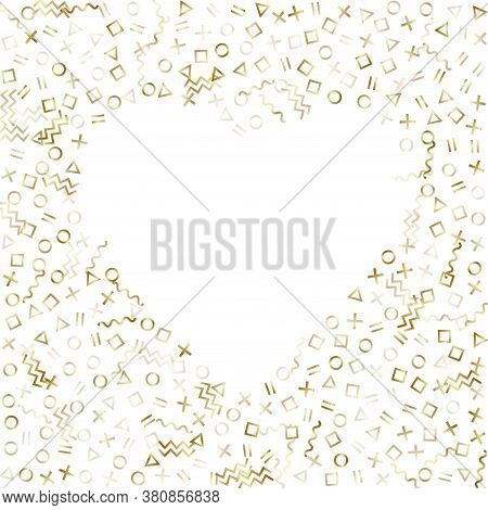 Memphis Style Gold Geometric Confetti Vector Background With Triangle, Circle, Square Shapes, Chevro
