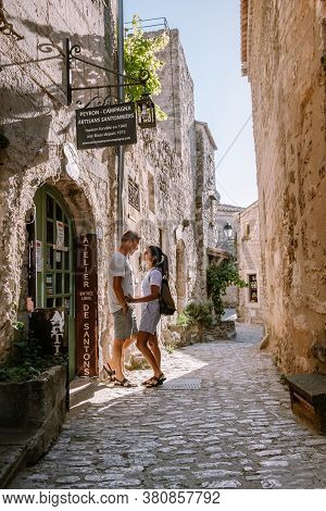 Les Baux De Provence France June 2020, Old Historical Town Village Build On A Hill In The Provence,