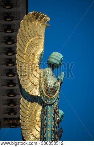 Vienna, Austria - August  2020: Otto Wagner Church Kirche Am Steinhof Angel Statue Detail, An Art No