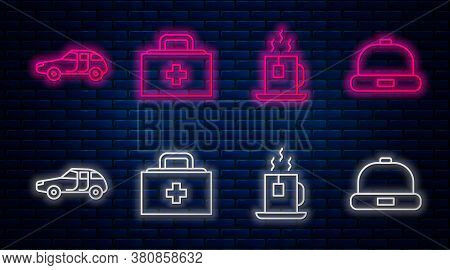 Set Line First Aid Kit, Cup Of Tea With Tea Bag, Car And Beanie Hat. Glowing Neon Icon On Brick Wall